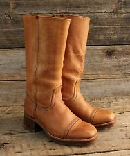 Vintage Kinney Tall Brown Leather Campus Boots w Stacked Heels Cap Toes Size 8D