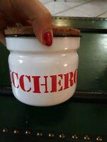 Pot Sucre Étain Émail Vintage