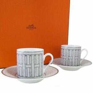 Hermes Mosaique au 24 Coffee Cup & Saucer Set of 2 Platinum Porcelain