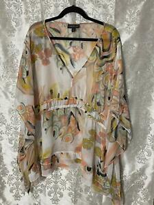 Lane Bryant Womens Plus Size 26/28 Multicolored Sheer Blouse Kaftan Tunic