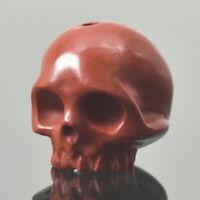 Red Jasper Human Skull Bead Guru Natural Indonesia 13.60 mm Carving 3.44 g