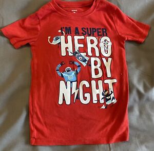 Carter's I'm A Super Hero By Night Boys T Shirt Size 10 Red Robots And Aliens