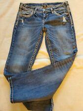 Silver Aiko Mid Boot Jeans Size 31 x 31 Women Bootcut Flap Pockets Fluid Denim