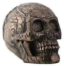 Aztec Skull Figurine Bronze Statue Sculpture
