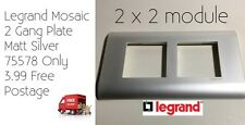 Legrand Mosaic 2 Gang Plate Matt Silver 75578 Only 3.99 Free Postage