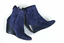 Balenciaga Blue Suede Wedge Siv To Pelle Ankle Boots 38 uk 5