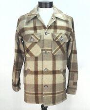 EUC VTG WOOLRICH MEN'S Jacket Coat PLAID Cream/Brown USA 70's WORK SHIRT WOW ***