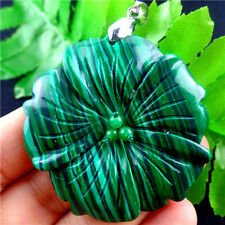 Beautiful Carved Flower Malachite Pendant Bead M5XY1989