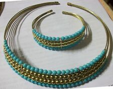 Greek Grecian Adjustable Wire Clamp Turquoise Bead Choker Necklace & Bracelet