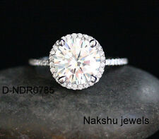 Engagement Ring 925 Sterling Silver 2Ct White Round Moissanite Halo Solitaire