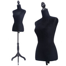 Female Mannequin Torso Dress Form Display W/Black Tripod Stand Us Styrofoam New