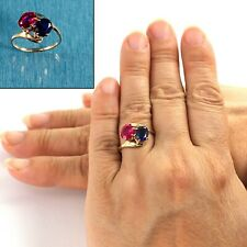 14K Solid Yellow Gold Ruby & Sapphire Cocktail Ring TPJ