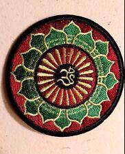 "(H13) OM LOTUS FLOWER 3"" iron on patch INFINITY Hindu Retro Boho"