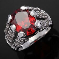 Anniversary Jewelry Size 11 Garnet Rhodium Plated Luxury Ring For Mens Fashion