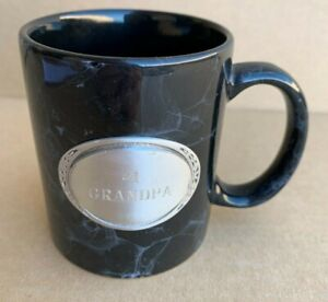 Coffee Mug Cup #1 Number 1 Grandpa Grandfather Pewter Plaque Black Linyi