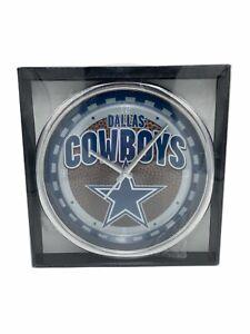 "DALLAS COWBOYS CHROME 12"" ROUND WALL CLOCK NFL FOOTBALL MAN CAVE!"