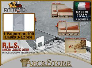 ARCKSTONE paquet de 100 bases tuiles 3-12 mm RLS Raimondi système de nivellement