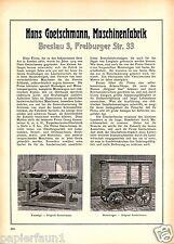 Maschinenfabrik Goetschmann Reklame von 1923 Breslau Wroclaw Ad Kreissäge