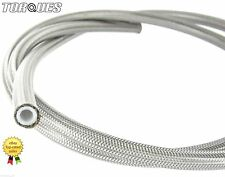 "AN -4 (JIC-4 3/16"" I.D) Stainless Braided Clear PVC Coated Teflon PTFE Hose 1m"
