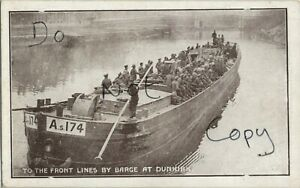 Soldier group on River Barge A.s 174 Inland Water Transport RE YMCA Fund card