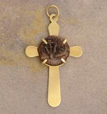 High Grade Widow's Mite Bible Coin in Solid 14kt Gold Cross Pendant 103-76 B.C.
