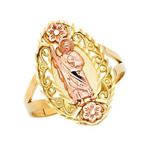 Women 14k Yellow Rose Real Gold CZ Religious St. Saint Jude Milgrain Ring Band