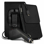 Carbon Fibre Belt Pouch Holster Case & Car Charger For Wileyfox Storm 4G