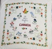 "Vintage Hand-printed Tablecloth Flower Emblems of Canada 48x48"" Square"
