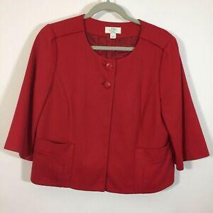 Ann Taylor LOFT Blazer Women Size 12P Petite Red Button Front Jacket