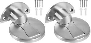 2X Door Stopper Stainless Steel Stop Holder Magnetic Catch 3M Adhesive Home NEW