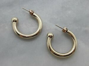 Chunky Solid 9ct Yellow Gold Round Statement Hoop Earrings - 3.15g - Not Scrap