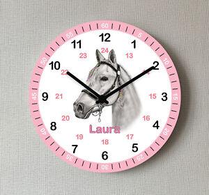 Kinder Wanduhr Pferd Lernuhr Rosa mit Wunsch Name Mädchen Kinderzimmer Uhr