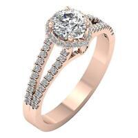 I1 G 1.30 Ct Round Diamond Solitaire Halo Set Wedding Ring 14K Rose Gold 9.15 MM