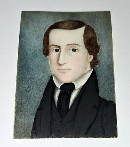 "19C American Framed Miniature Portrait Painting ""Young Man"" unsigned (ThB)"