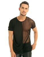 Men's Short Sleeve See Through Clubwear T-shirt Undershirt Fitness Tank Top Vest