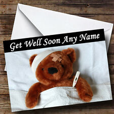 Sick Teddy Personalised Get Well Soon Greetings Card