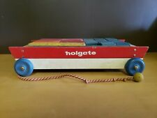 Vintage Holgate 1950s Wooden Building Blocks and Pull Wagon Colorful Kids Toy