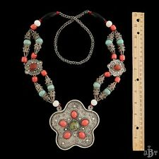 Antique Vintage Deco Sterling Silver Chinese Tibetan Turquoise Coral Necklace!