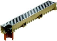 ACO Self EuroLine Rinne 1 m mit Stutzen und Stahl verzinktem Stegrost