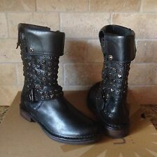 UGG CONOR STUDS BLACK LEATHER MOTO BIKER BOOTS SIZE US 5 WOMENS