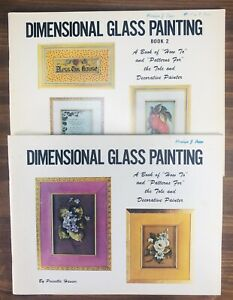 """VTG """"DIMENSIONAL GLASS PAINTING"""" Books 1 & 2 by Priscilla Hauser Tole Oil Paint"""