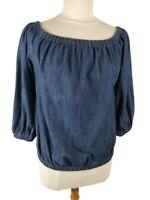 Universal Thread Womens Dark Blue Denim Chambray Shirt Top Off Shoulder Size Med