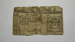 1771 Ten Shillings New York NY Colonial Currency Bank Note Bill! RARE ISSUE! 10s