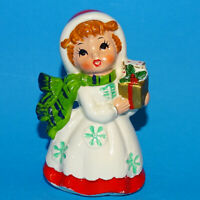 Vintage Lefton Christmas Redhead Girl w/ Gifts Ceramic Figurine 7698 Japan Label