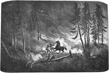 CANADA - ALBERTA: Fire in the ROCKY MOUNTAINS - Woodcut from 19th century