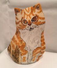 Nina Lyman Cat Vase Ceramic Cats Yellow Kitty Sitting Orange Tabby White Vest