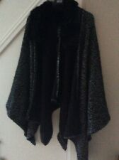 MARKS AND SPENCER BLACK FUR COLLARED SHAWL SHRUG ONE SIZE NEW /TAGS