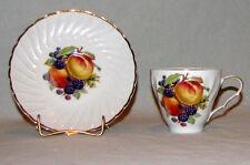 Vintage Teacup and Saucer Old Nuremberg Bavarian China Fruit Design Gold Gild