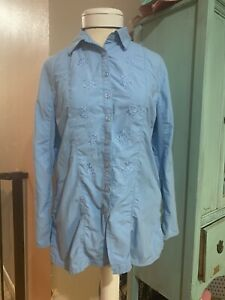 Coolibar Shirt  Womens UPF Sun Protection Small S Blue Long Sleeves Vent READ