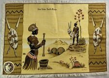 Vintage African Art Table Cloth or Wall Decor Zulu Tribe South Africa Natives